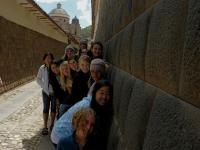 Cusco wall and girls